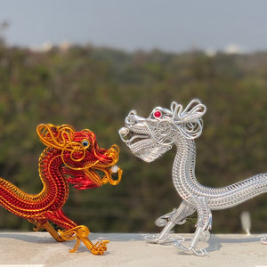 Hand-crafted wire art dragon