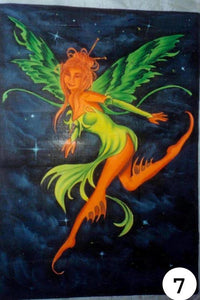 UV Glow Painting Green and Oragne Fairy