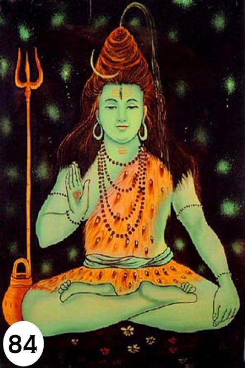 UV Glow Painting Green Shiva