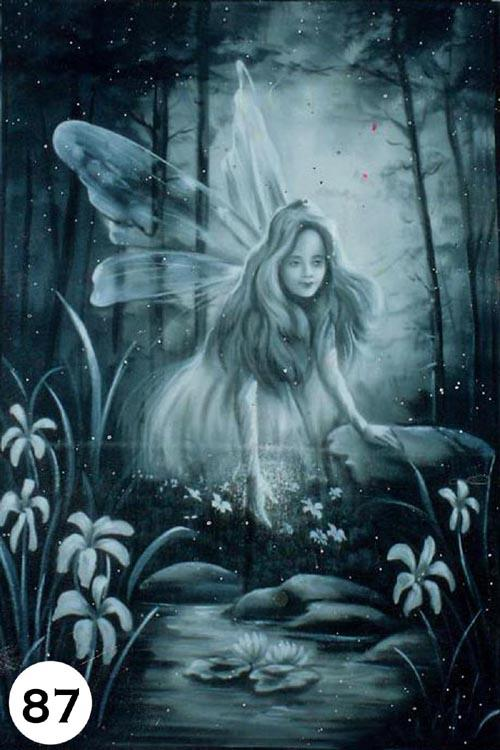 UV Glow Painting Fairy Hologram Black and white