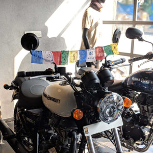 Prayer Flag Om Mani Padme Hum Cotton Mini on Royal enfield