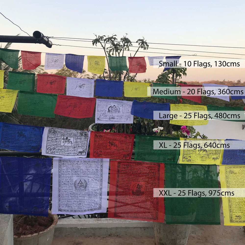 Buddhist Tibetan Prayer Flag Small 130cms comparison