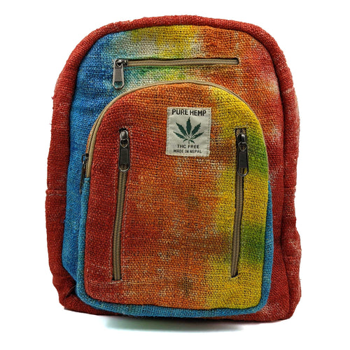 Hemp Backpack Mini Multicolor Print Front View