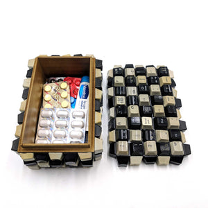 Wooden Box Keyboard Keys medicine storage
