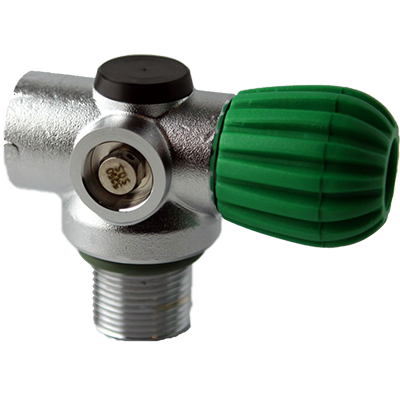 StoneRust.com - Blue Steel - Inline Rebreather Valve with 200 BAR Din- Green Knob