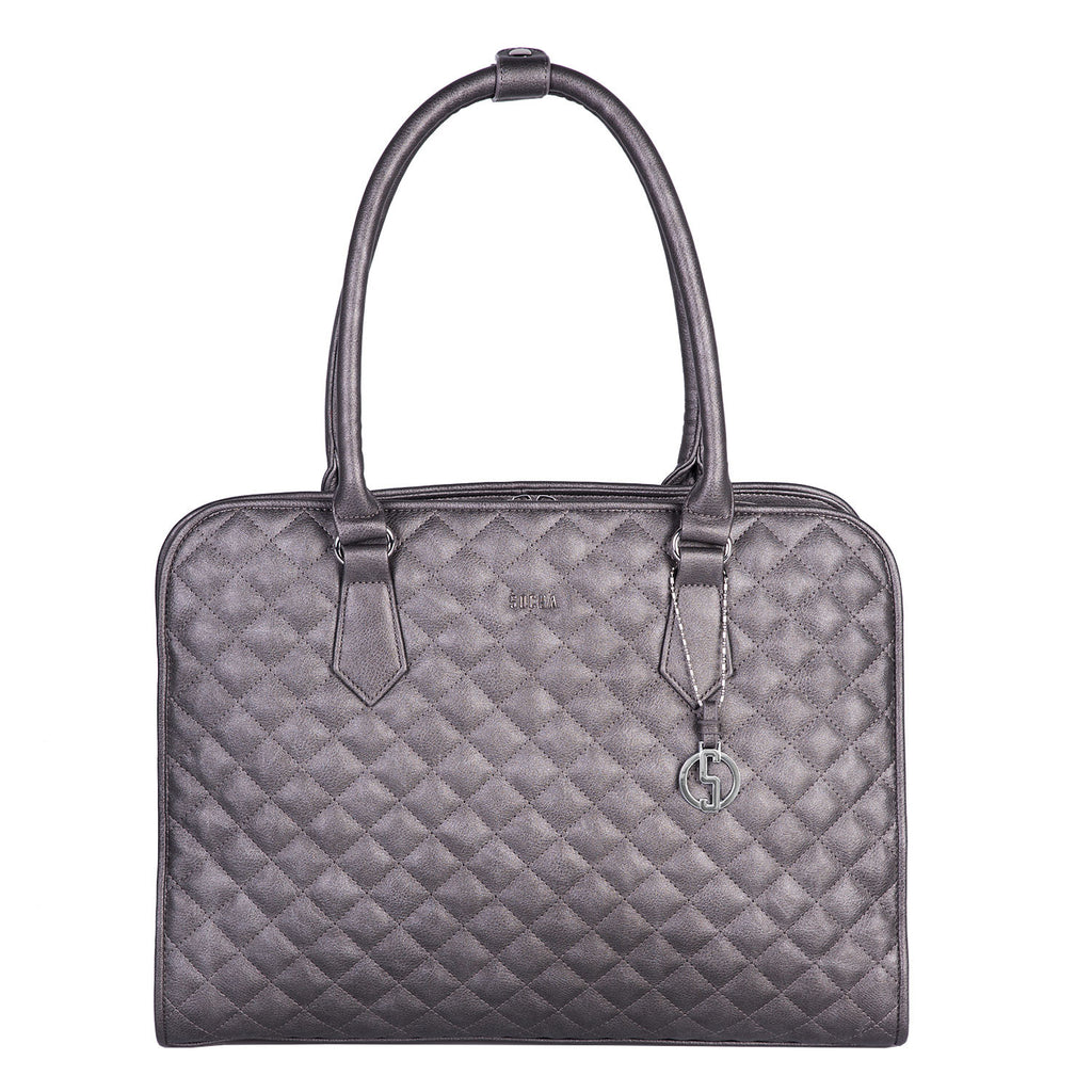 Our top selling Laptop Tote now in a fabulous metallic grey colour