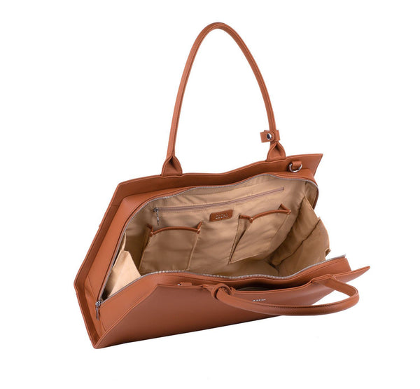 Straight Line Cognac 15.6″ Women's Laptop Tote - Laptopbags.co.uk