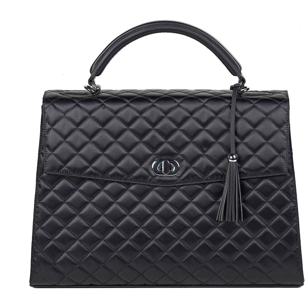 Audrey Diamond Black Quilted 13.3″ Womens Laptop Tote - Laptopbags.co.uk