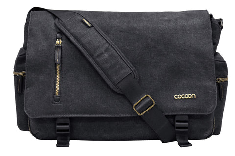 "Cacoon Urban Adventure 16"" Laptop Messenger Bag - Black - Laptopbags.co.uk"