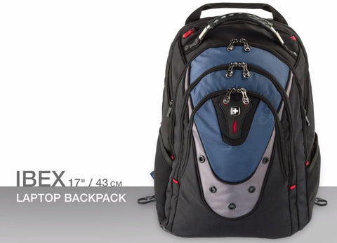 "Wenger Ibex 17"" Laptop Backpack Black/Blue - Laptopbags.co.uk"
