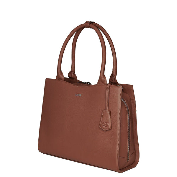 "Diamond Edition Straight Line 14"" Leather Laptop Tote - Cognac - Laptopbags.co.uk"