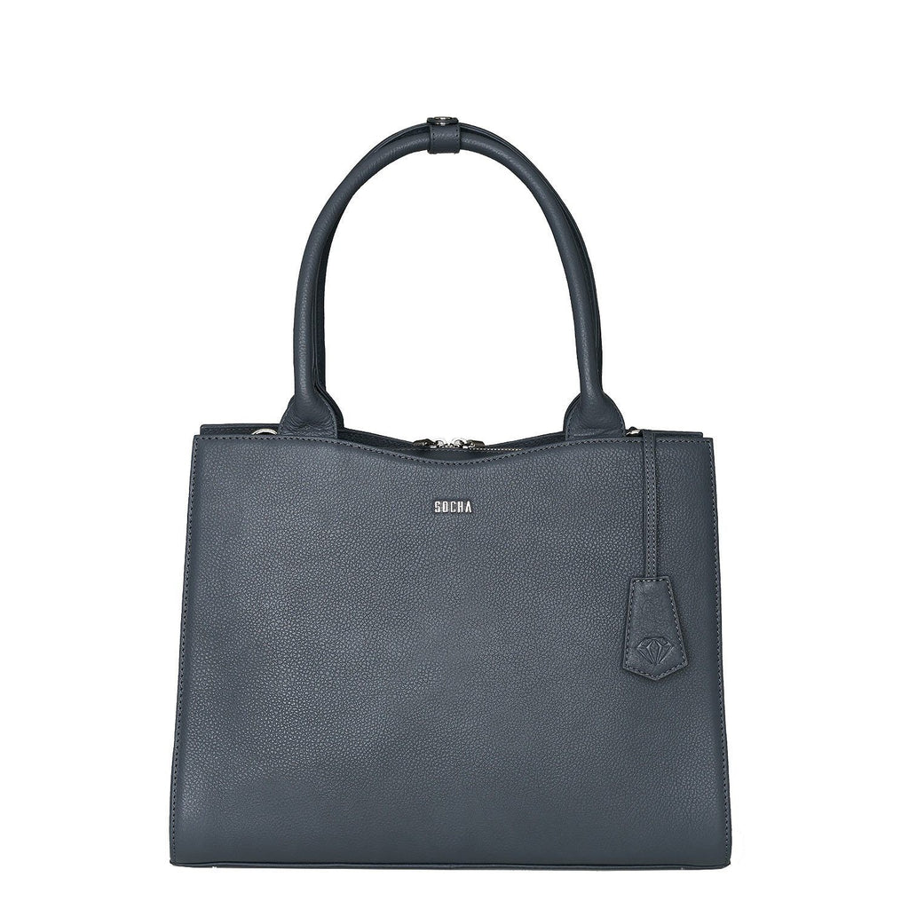 "Diamond Edition Straight Line 14"" Leather Laptop Tote - Grey - Laptopbags.co.uk"