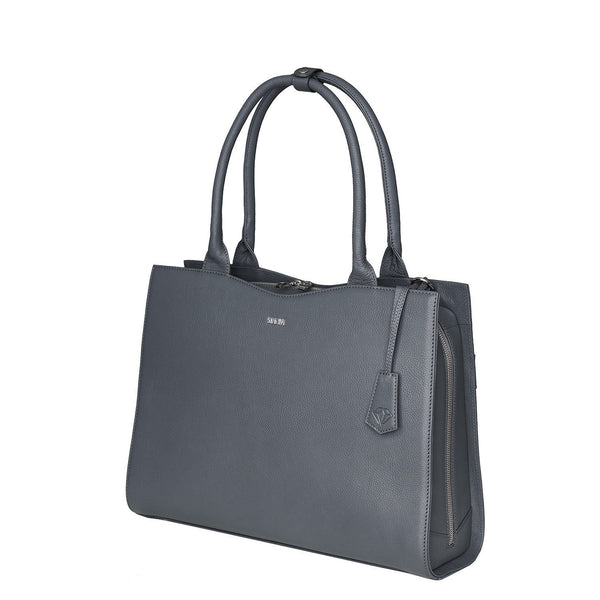 "Grey 15.6"" Womens Diamond Edition Leather Laptop Bag - Laptopbags.co.uk"