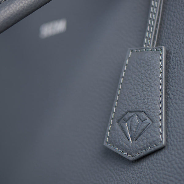 "Straight Line Grey 15.6"" Womens Leather Laptop Bag - Laptopbags.co.uk"