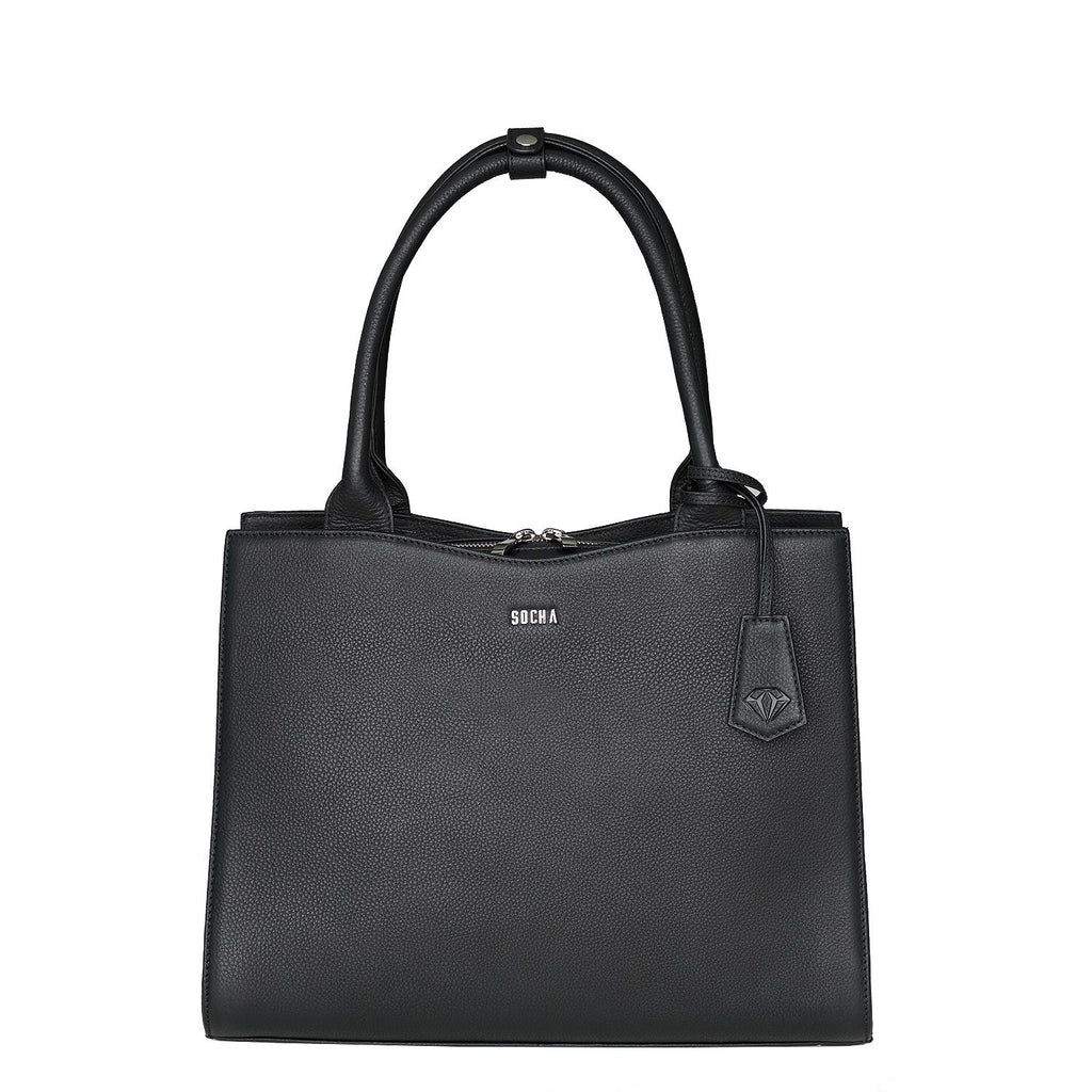 "Diamond Edition Straight Line 14"" Leather Laptop Tote - Black - Laptopbags.co.uk"