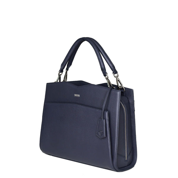 "Diamond Edition Navy Leather Womens 14"" Laptop Tote - Laptopbags.co.uk"