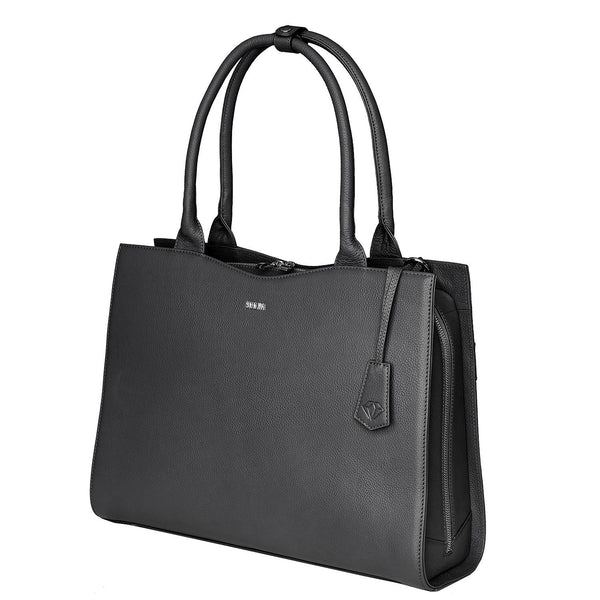 "Diamond Edition Black Leather Womens 14"" Laptop Tote - Laptopbags.co.uk"