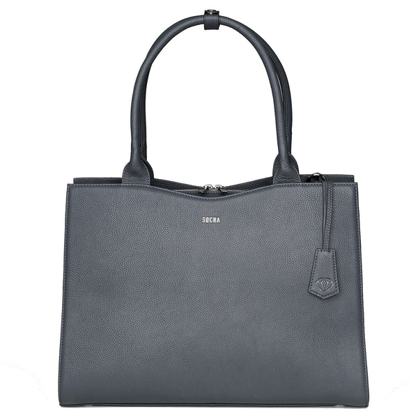 "Diamond Edition Grey Leather Womens 14"" Laptop Tote - Laptopbags.co.uk"