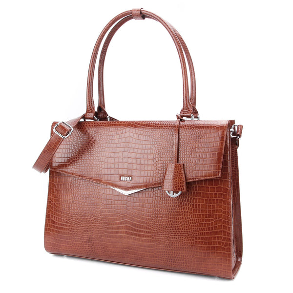Silver Tip Mock-Croc Brown 15.6″ Laptop Tote - Laptopbags.co.uk