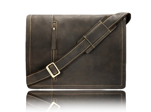 "Visconti Foster Medium 13.3"" Leather Laptop Messenger Bag - Laptopbags.co.uk"