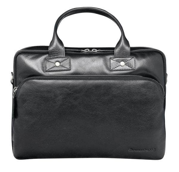 "Kronborg 16"" Leather Laptop Briefcase - Black - Laptopbags.co.uk"