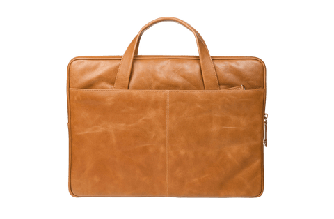 "Slim Leather Laptopcase Silkeborg for PC & MacBooks up to 13""- Tan - Laptopbags.co.uk"