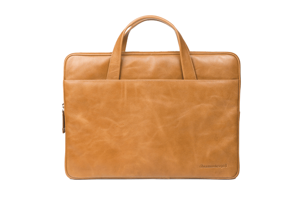 "Leather Laptopcase Silkeborg for PC & MacBooks up to 13""- Tan - Laptopbags.co.uk"