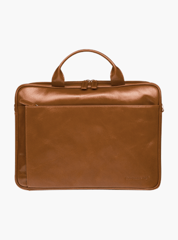Amalienborg 15 Inch Leather Laptop Briefcase - Tan - Laptopbags.co.uk