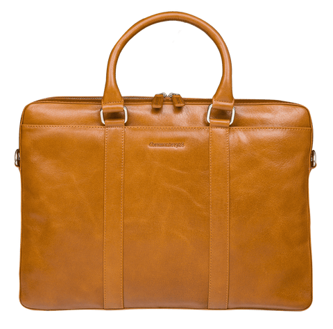 "Nordborg - 15"" Laptop Slim Leather Briefcase- Tan - Laptopbags.co.uk"
