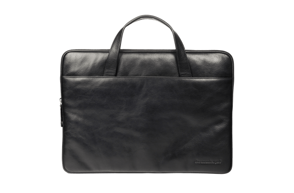 "Leather laptop case Silkeborg for PC & MacBooks up to 15""- Black - Laptopbags.co.uk"