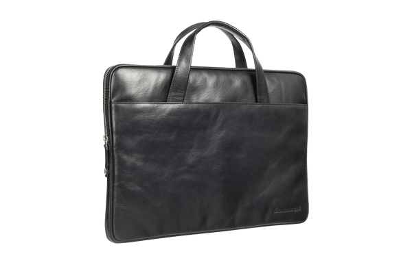 "Leather laptop case Silkeborg for PC & MacBooks up to 13""- Black - Laptopbags.co.uk"