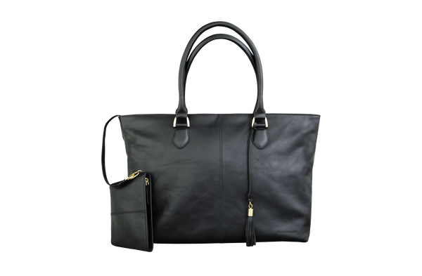 "Sophie Black Leather Womens 15"" Laptop Tote - Laptopbags.co.uk"