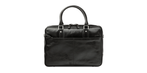 "Rosenborg 14"" Black Leather Laptop Briefcase - Laptopbags.co.uk"