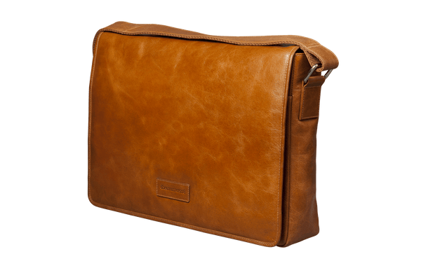 "Marselisborg 14"" Leather Laptop Messenger Bag - Tan - Laptopbags.co.uk"