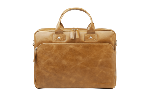 "Kronborg 16"" Leather Laptop Briefcase - Tan - Laptopbags.co.uk"