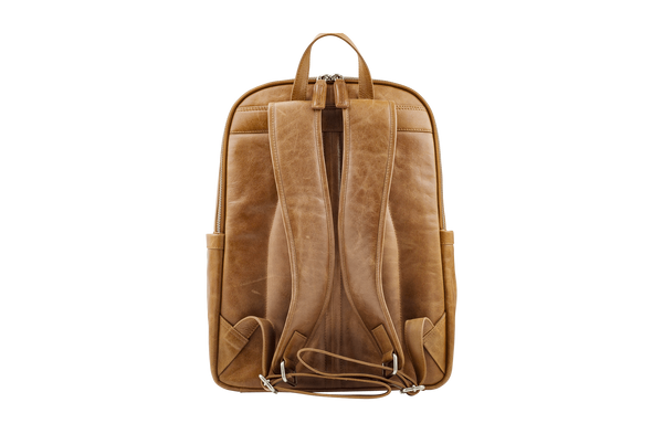 "Svendborg -16"" Leather Laptop Backpack -Tan - Laptopbags.co.uk"