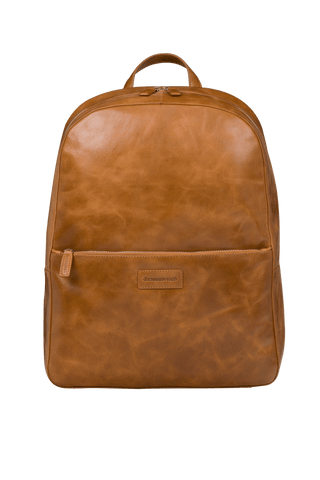 "Sonderborg - 16"" Leather Laptop Backpack- Tan - Laptopbags.co.uk"