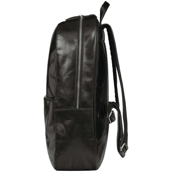 "Sonderborg - 16"" Leather Laptop Backpack- Black - Laptopbags.co.uk"