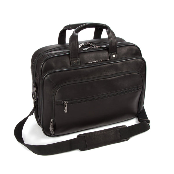 "Colombian Leather 16"" Twin Handle Laptop and Tablet Briefcase - Black - Laptopbags.co.uk"
