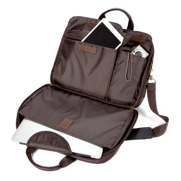 "Colombian Leather 16"" Twin Handle Laptop and Tablet Briefcase - Brown - Laptopbags.co.uk"