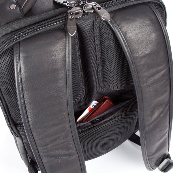 "Colombian Leather 16"" Laptop -12"" Tablet Backpack - Black - Laptopbags.co.uk"
