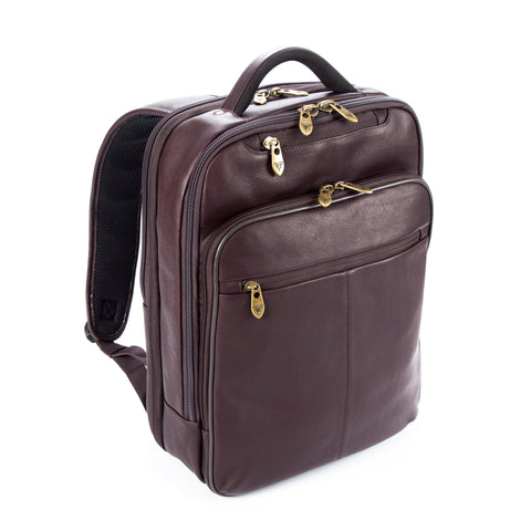"Colombian Leather 16"" Laptop and 12"" Tablet Backpack - Brown - Laptopbags.co.uk"