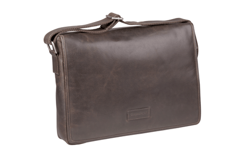 "Marselisborg Leather Laptop Messenger - 14""- Hunter Brown - Laptopbags.co.uk"