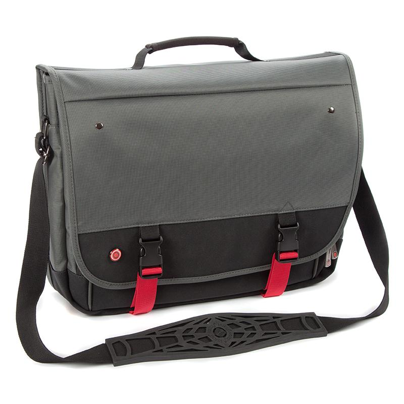 "i-stay 15.6"" Urbana Laptop/Tablet Messenger Bag ‐ Titanium/Black/Red - Laptopbags.co.uk"