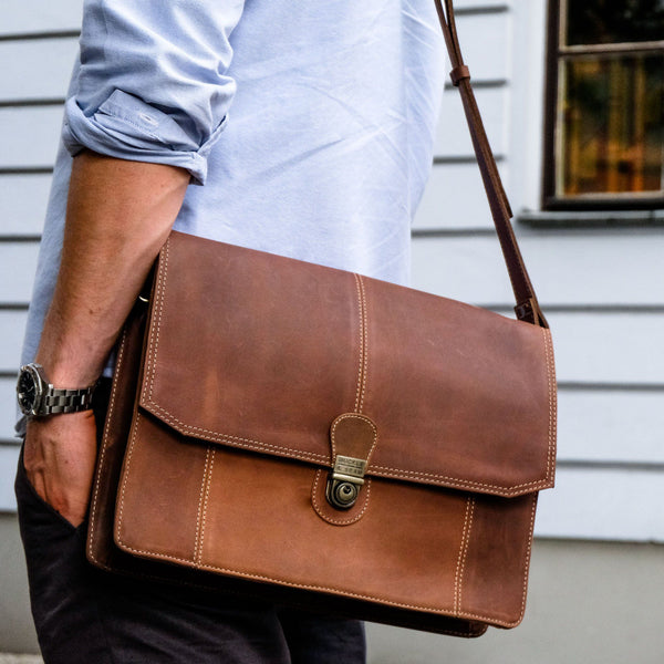 "Buckle & Seam 13""Leather Laptop Satchel Bag – CARA - Laptopbags.co.uk"
