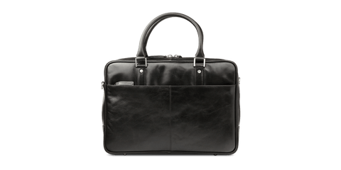 "Rosenborg 16"" Black Leather Laptop Briefcase - Laptopbags.co.uk"