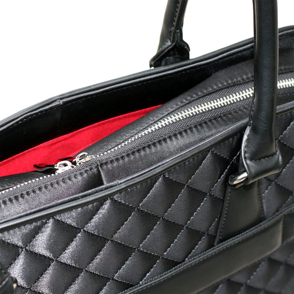 "Socha 15.6"" Black Diamond Womens Quilted Laptop Tote - Laptopbags.co.uk"