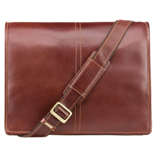 "Visconti Aldo 15"" Leather Laptop Messenger Bag - Laptopbags.co.uk"