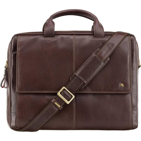 "Anderson 15"" Leather Laptop Briefcase- Brown - Laptopbags.co.uk"