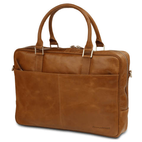 "Rosenborg 16"" Tan Leather Business Laptop Briefcase - Laptopbags.co.uk"